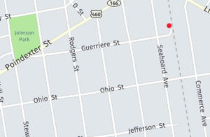 The red dot marks the location of the old South Norfolk train station.